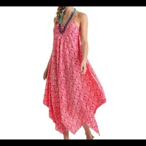 Vineyard Cines Shell handkerchief hem maxi dress